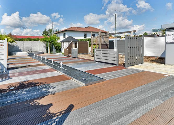 Holz- und WPC-Terrassen in der Gartenausstellung von Holz-Hauff