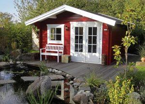 Schwedische Gartenhäuser im Garten von Holz-Hauff in Leingarten