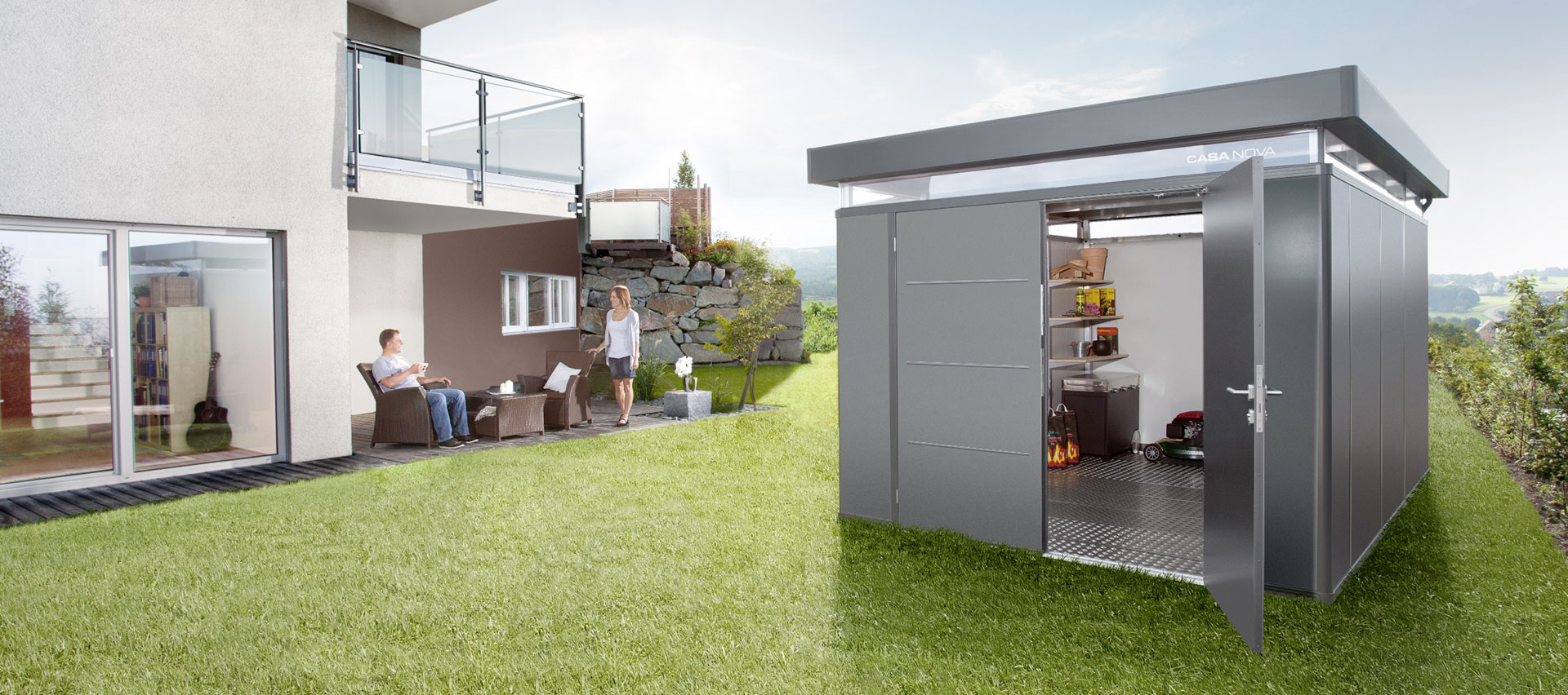 Gerätehäuser aus Metall im Garten von Holz-Hauff in Leingarten