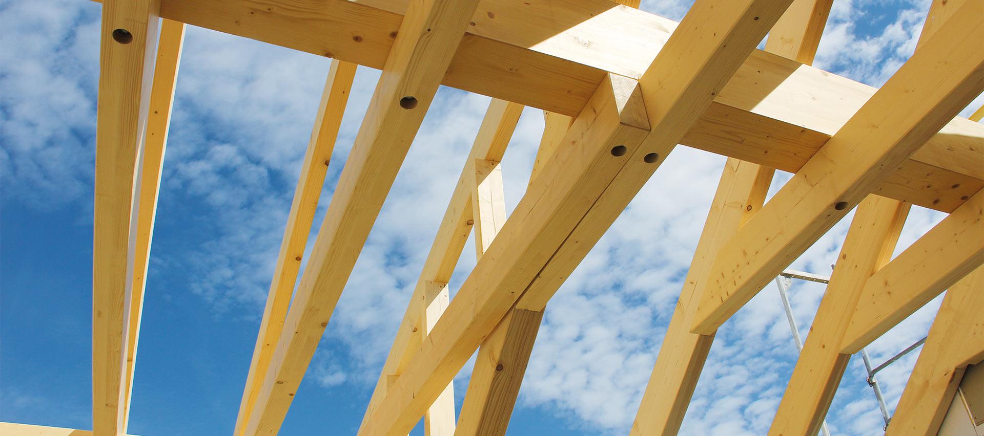 Konstruktionsvollholz für den Giebel von Holz-Hauff in Leingarten