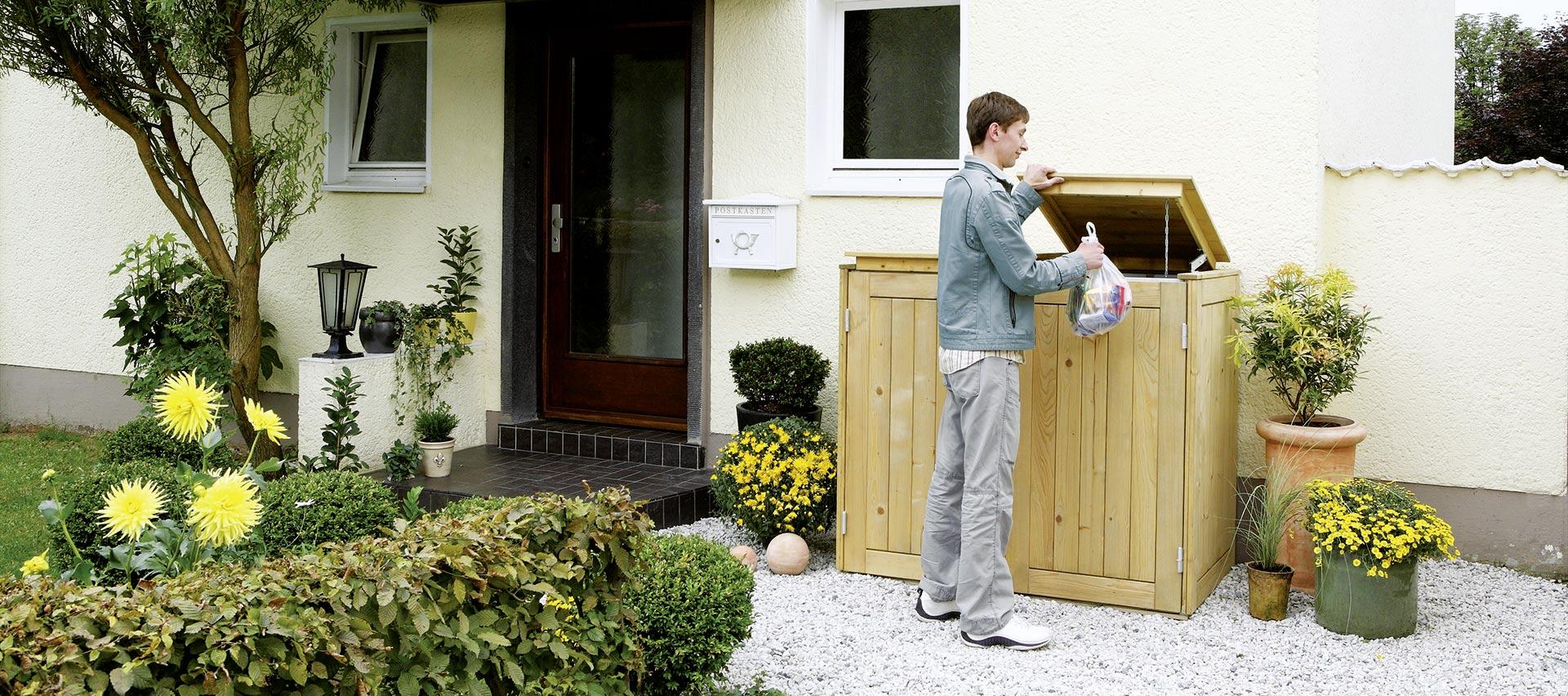 Mülltonnenboxen aus Holz von Holz-Hauff in Leingarten