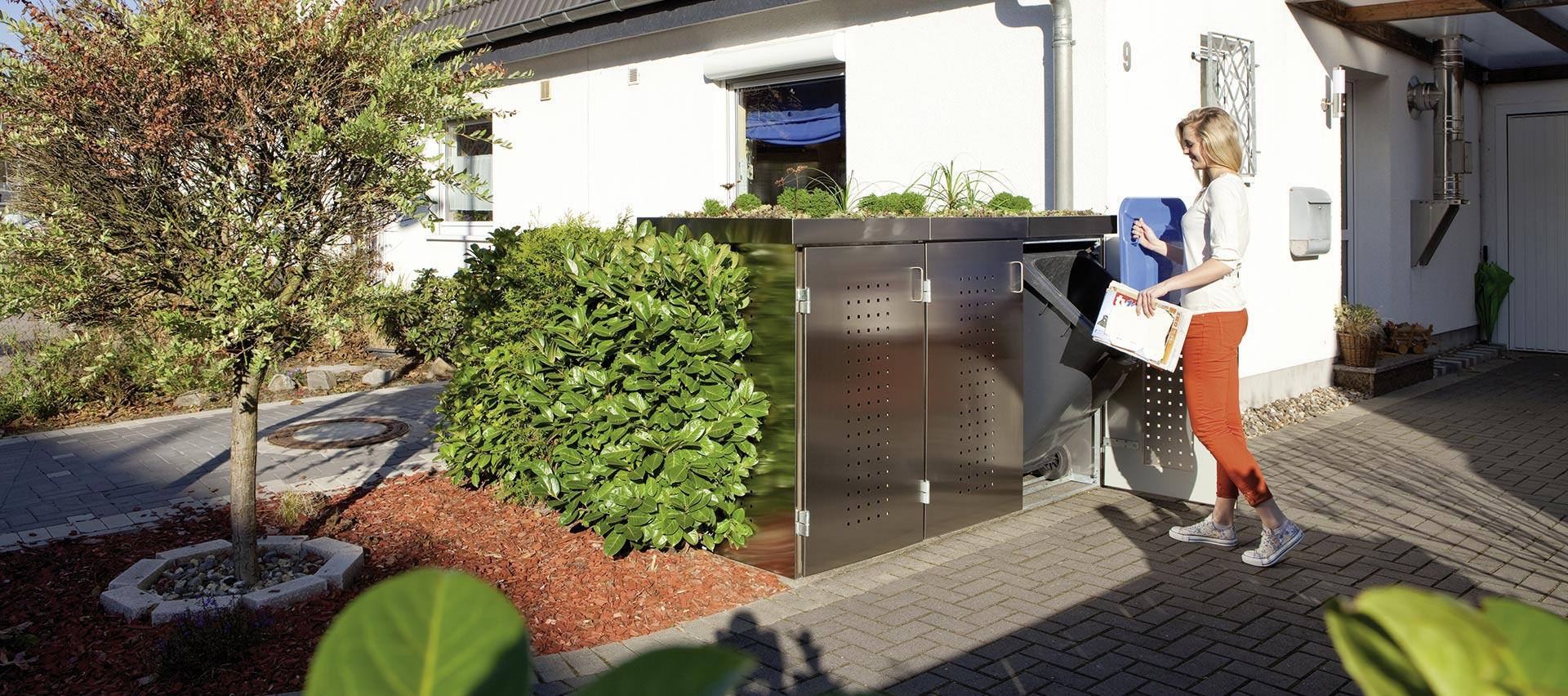 Mülltonnenboxen aus Metall von Holz-Hauff in Leingarten