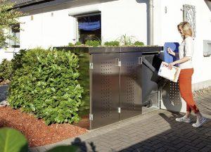Mülltonnenboxen aus Metall im Garten von Holz-Hauff in Leingarten