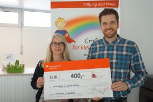 400 € Spendenübergabe Firma Holz-Hauff an Große Hilfe für kleine Helden