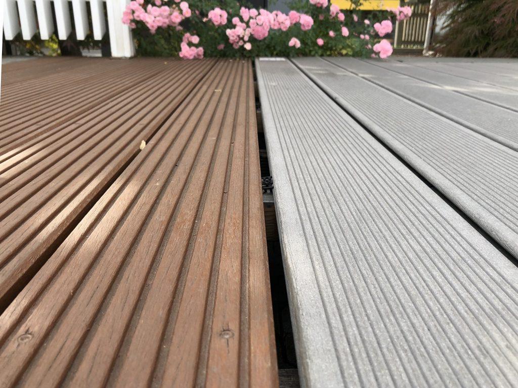 Holzterrasse vs. WPC Gartenausstellung Holz-Hauff