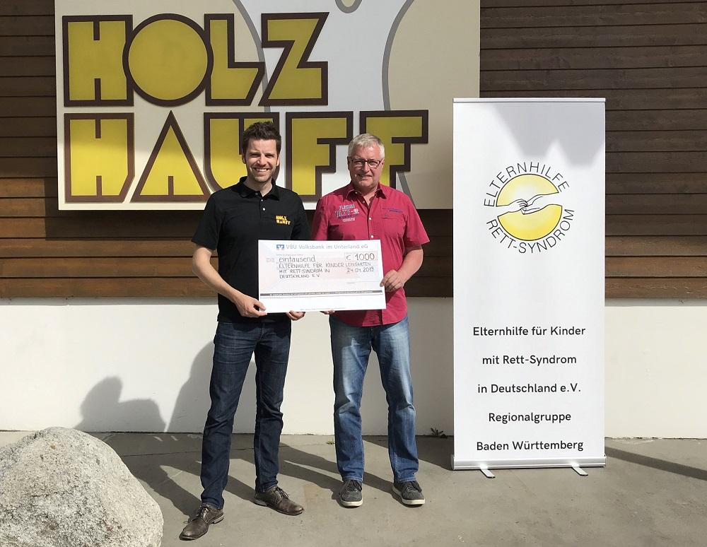 Spendenübergabe Elternhilfe für Kinder mit Rett-Syndrom in Deutschland e.V. bei Holz-Hauff GmbH in Leingarten