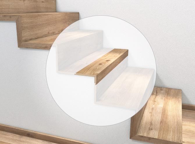 Stufenkantenprofil, einmal eingeschlagen | Holz-Hauff in Leingarten