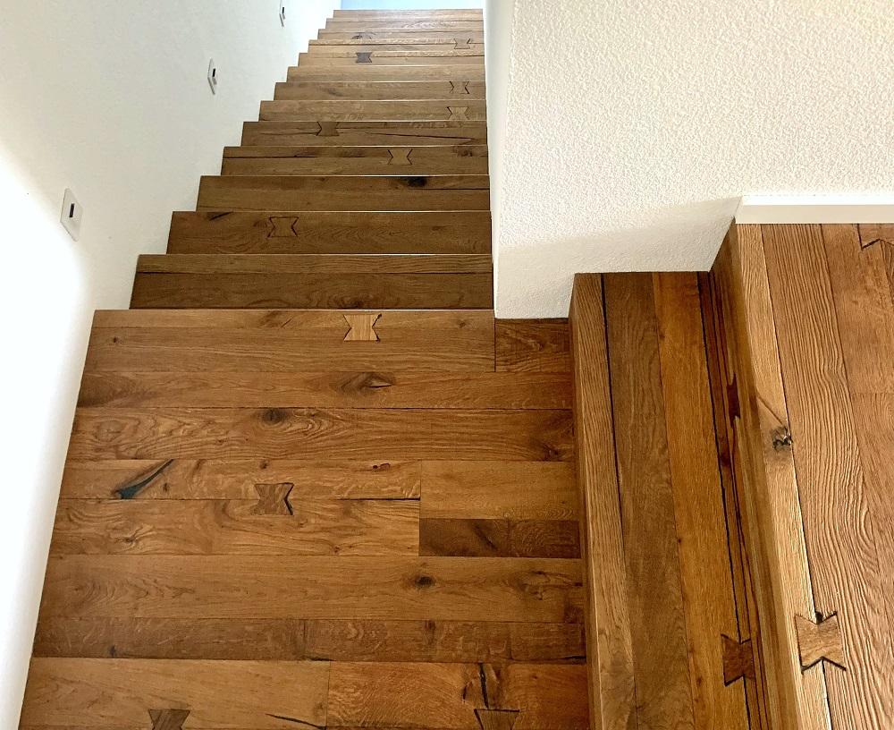 Treppe aus Kährs Parkett Eiche Da Capo Unico   bei Holz-Hauff GmbH in Leingarten
